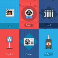 Poster di riscaldamento e raffreddamento vettore