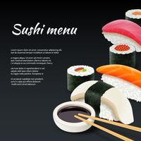 Sushi su sfondo nero vettore