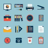 Set di icone di cancelleria ufficio affari
