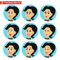 Set di icone di emozioni facciali vettore