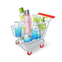 Carrello di prodotti cosmetici vettore