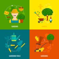 Composizione piana nelle icone del giardino vegetale
