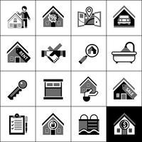 Immobiliare icone nere vettore