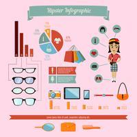 Insieme di elementi di infographics hipster con ragazza geek