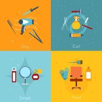 Set di icone di parrucchiere piatta