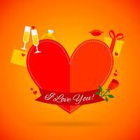 Carta di amore romantico vettore