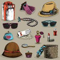 Set accessori donna vettore