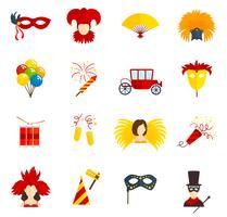 Icone di Carnevale impostate piatte