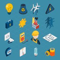 Icone isometriche di elettricità vettore