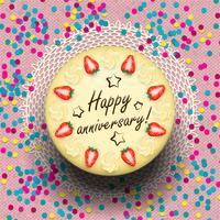 Torta anniversario di gelato decorata con fragole vettore