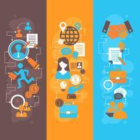 Set di banner piatto di colloquio di lavoro vettore