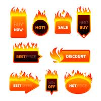 Distintivi di prezzo caldi vettore