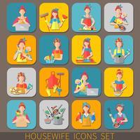 Set di icone di casalinga vettore