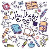 Set di strumenti per scrivere il diario vettore