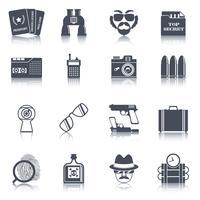 Set di icone di gadget spia nera vettore