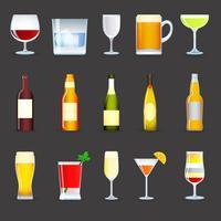 Set di icone di bevande alcoliche vettore