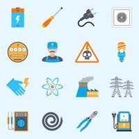 Set di icone di elettricità vettore