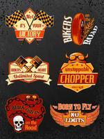 Set di distintivi per bici da moto vettore