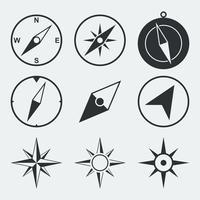 Set di icone piane di bussola di navigazione vettore