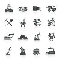 Icone di estrazione mineraria nere vettore