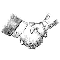 Business handshake uomo e donna vettore