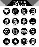 Icone pubblicitarie nere vettore