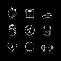 Set di icone di salute sport benessere assistenza sanitaria vettore