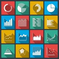 Icone di affari di grafici di valutazioni e grafici