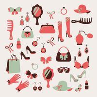 Set di icone di accessori donna