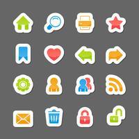 Elementi dell'interfaccia di layout del sito Web sugli adesivi dei cartoni animati vettore