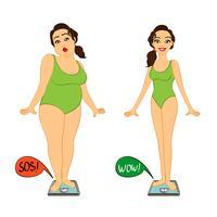 Donna grassa e snella su scale di pesi vettore