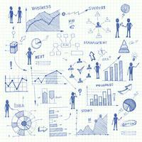 Doodle elementi di infographics grafici aziendali vettore