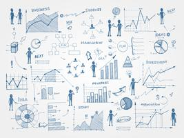 Doodle elementi di infografica di gestione aziendale vettore