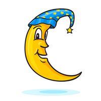 Luna in berretto da notte con stella d'oro vettore