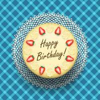 Torta di compleanno di formaggio con fragole vettore
