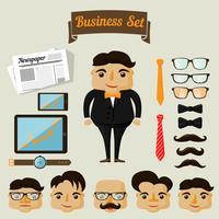 Elementi di carattere hipster per uomo d'affari vettore