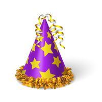 Cappello viola di compleanno con stelle gialle vettore