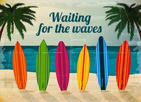 Tavole da surf per le vacanze sulla spiaggia dell'oceano vettore