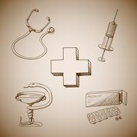 Raccolta di simboli medici vettore