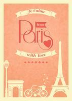 amore retrò vintage poster di parigi vettore