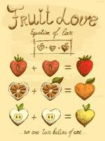 Poster vintage di formula amore di frutta vettore