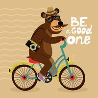 Poster hipster con orso geek vettore