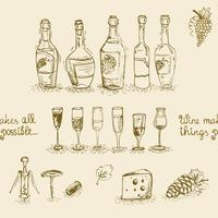 Set di bottiglie e bicchieri di vino vettore
