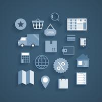 Collezione di pittogrammi dello shopping online vettore