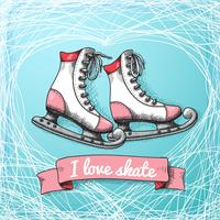 Amo il tema della carta da skate vettore
