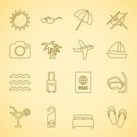 Iconset di viaggio generico, contorno piatto vettore