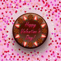 Torta di San Valentino al cioccolato e cacao decorata con fragole vettore