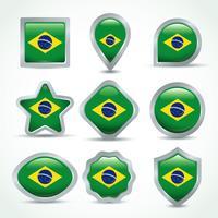 Insieme di clipart della bandiera del Brasile