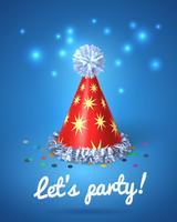 Facciamo festa poster con cappello rosso e stelle vettore