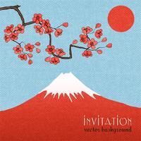 Fondo o manifesto della carta dell'invito di Sakura vettore